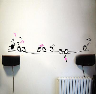 Samolepicí dekorace život na drátě, růžová