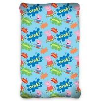 Lenjerie de pat din bumbac, Purceluș Peppa Blue,pentru copii, 90 x 200 cm