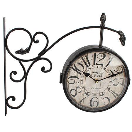 Kovové hodiny s teplomerom Vintage, čierna