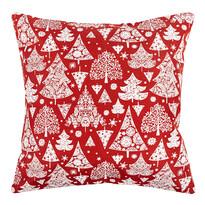 Față de pernă, model Crăciun Pom de iarnă, roșie, 40 x 40 cm