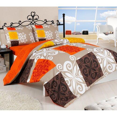 Bavlnené obliečky Sedef oranžová, 160 x 200 cm, 2 ks 70 x 80 cm