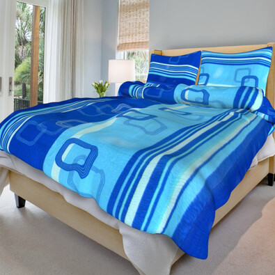 Krepové povlečení Tonda modrý, 140 x 200 cm, 70 x 90 cm