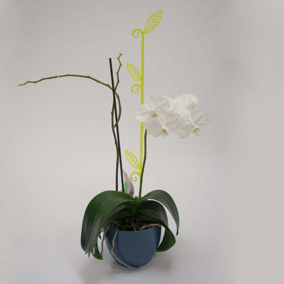 Tyčka k orchideji list, průsvitná zelená, 2 ks, Plastia