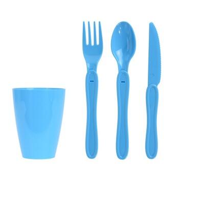 Piknikowy zestaw plastikowych naczyń 31 szt., niebieski