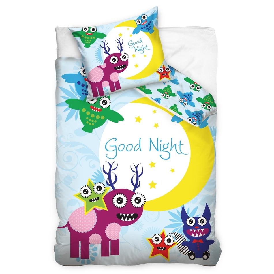 Tip Trade Detské bavlnené obliečky Good night Monster, 140 x 200 cm, 70 x 90 cm