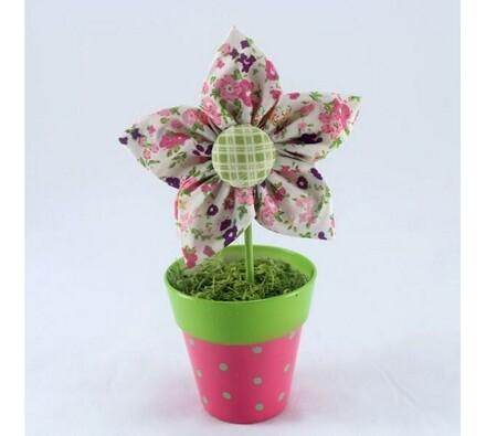 Textilní květina v květináči