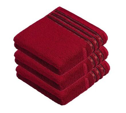 Vossen ručník Cult De Luxe červená, 50 x 100 cm, sada 3 ks