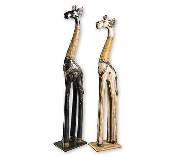 Dřevořezba žirafa, černá