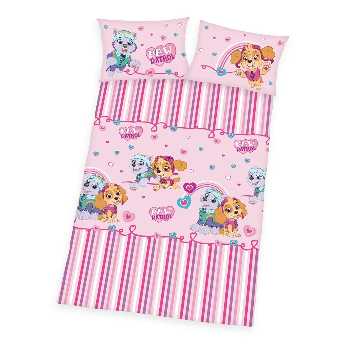 Herding Detské bavlnené obliečky do postieľky Tlapková Patrola pink, 100 x 135 cm, 40 x 60 cm