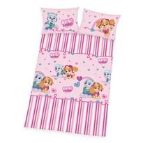 Lenjerie de pat Herding Patrula cățelușilor pink, din bumbac, de copii, 100 x 135 cm, 40 x 60 cm