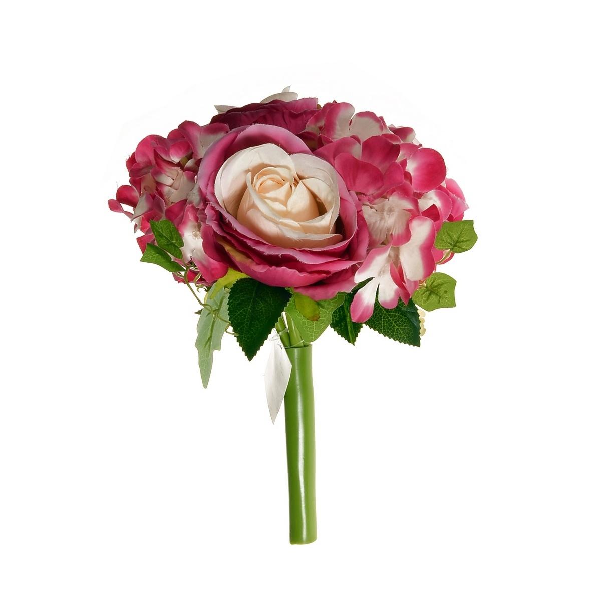 Umělá kytice Růže s hortenzií růžová, 26 cm