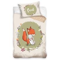 Lenjerie de pat din bumbac, pentru copii,Vulpița și Iepurașul, 100 x 135 cm, 40 x 60 cm