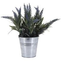 Umělá květina v plechovém květináči světle fialová, 21 cm