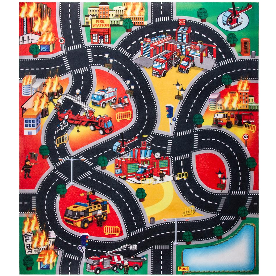 Koopman Dětská hrací podložka s autíčky Fire city, 70 x 80 cm