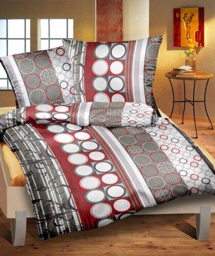 Krepové obliečky Xenie šedočervená, 140 x 200 cm, 70 x 90 cm