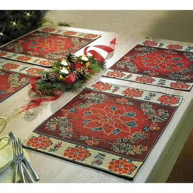 Vánoční gobelínové prostírky Poinsettia, 48 x 33 c, červená