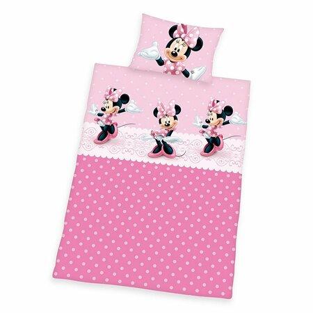 Dětské bavlněné povlečení Minnie pink dots, 100 x 135 cm, 40 x 60 cm