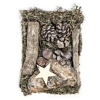 Dekor potpourri mohával, tobozokkal és fával 1 50 g, fehér