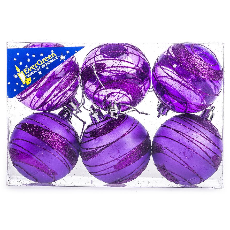 HTH Vánoční koule s pruhy 6 ks fialová pr. 6 cm