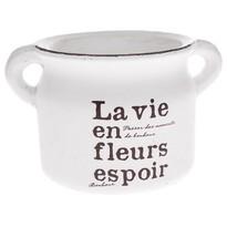 Keramický obal na květináč La vie bílá, 21 cm