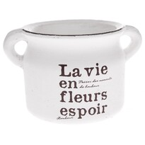Recipient ceramic de ghiveci La vie, alb, 21 cm