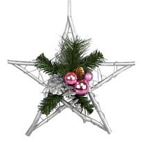 Vianočná prútená hviezda Esfera ružová, 30 cm
