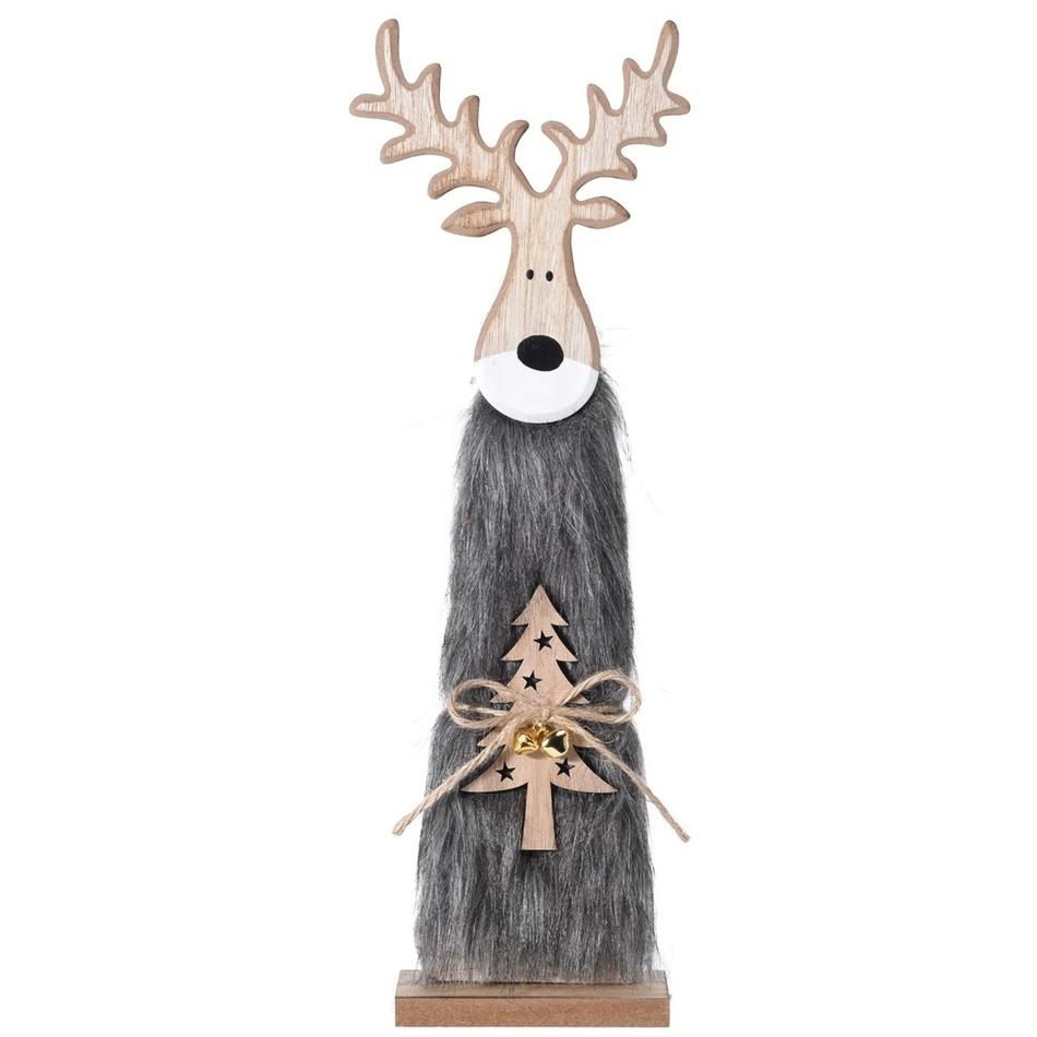 Vianočný drevený Sob Ervín sivá, 40 cm, 40 cm