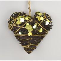 Proutěná závěsná dekorace Srdce žlutá, 19 cm