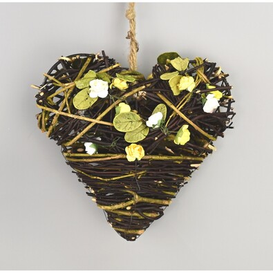 Prútená závesná dekorácia Srdce žltá, 19 cm
