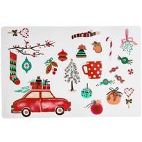 Vianočné prestieranie Auto biela, 28 x 43 cm