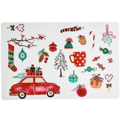 Vánoční prostírání Auto bílá, 28 x 43 cm