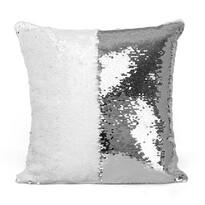 Domarex Poszewka na poduszkę z cekinami Flippy srebrny, 40 x 40 cm