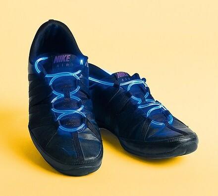 Blikající tkaničky do bot, modrá