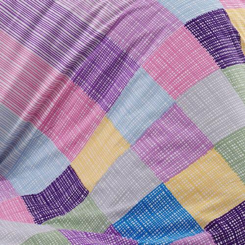 Bavlnené obliečky Karo fialová, 140 x 220 cm, 70 x 90 cm