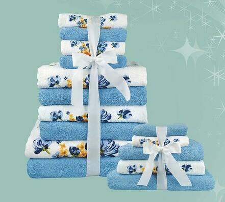 Sada 15 ks ručníků, modrá