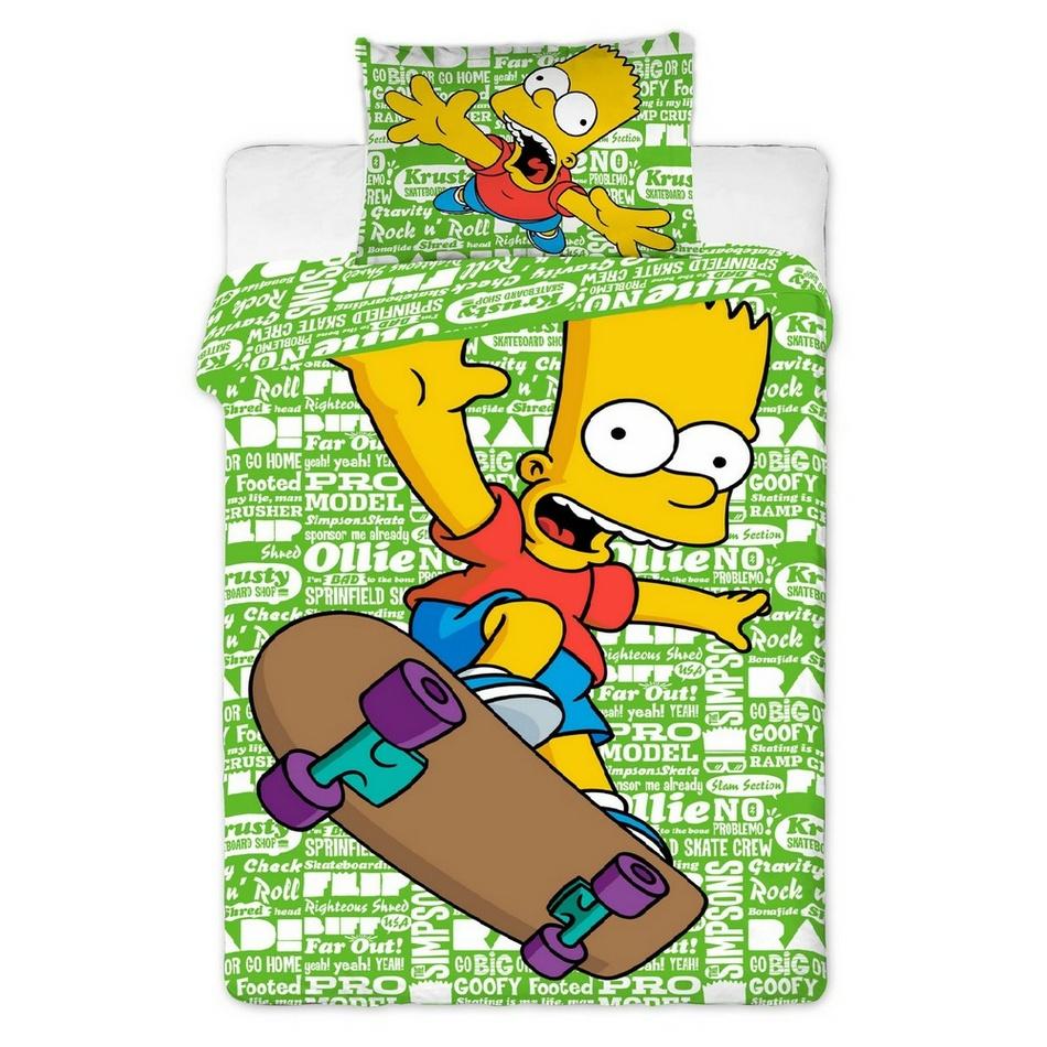 Jerry Fabrics Dětské bavlněné povlečení Simpsons Bart green, 140 x 200 cm, 70 x 90 cm