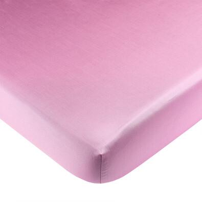 Saténové prostěradlo s gumou tmavě růžová, 90 x 200 cm