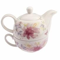 Flower porcelán teáskanna csészével, 400 ml