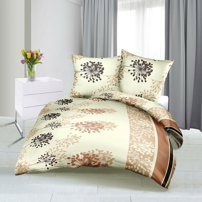 Lenjerie de pat din satin Poiană, bej, 140 x 220 cm, 70 x 90 cm