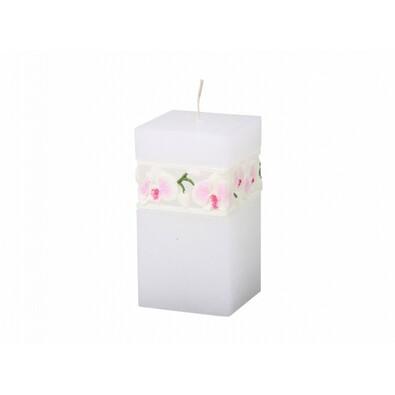 Rzeźbiona świeczka Biała orchidea, prostopadłościan