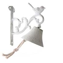Dzwonek żeliwny z ptaszkiem biały, 17 x 17 x 8 cm