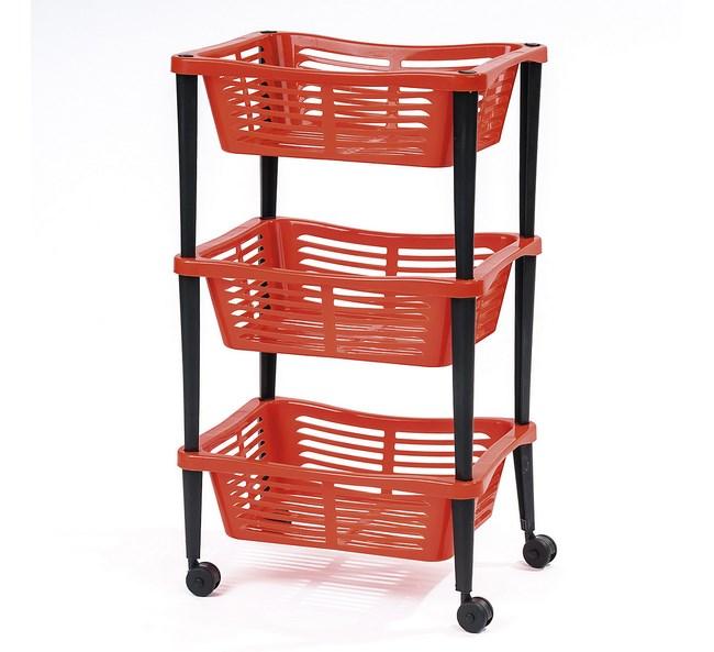 Trojposchodový pojazdný košík, oranžový,