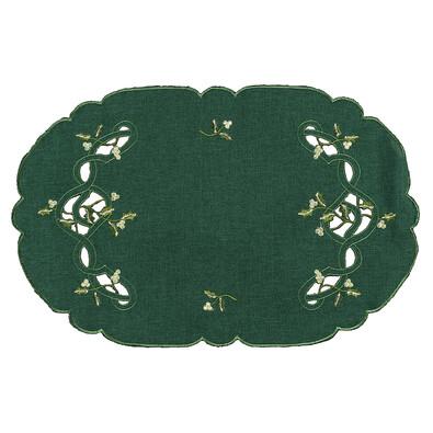 Vánoční ubrus jmelí zelená, 30 x 45 cm