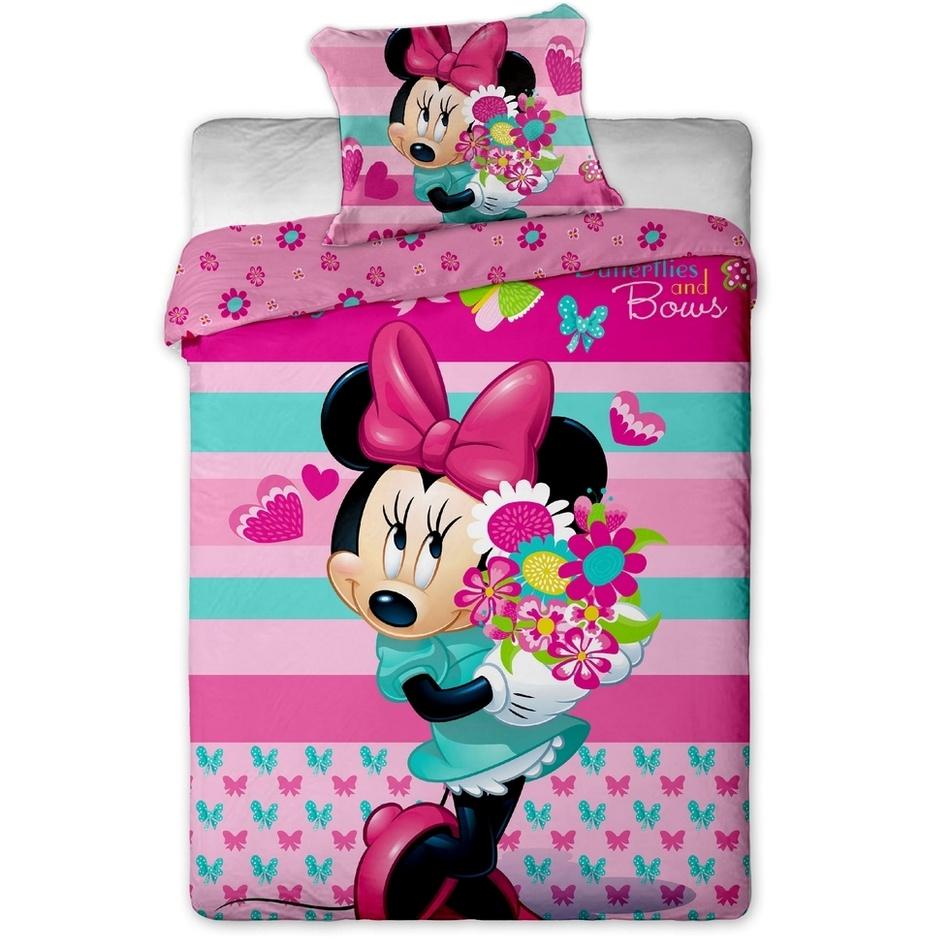 Jerry Fabrics Dětské bavlněné povlečení Minnie flower 140x200 70x90
