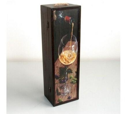 Dřevěný box na 1 láhev vína, motiv sklenice vína