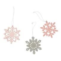 Altom Sada dřevěných vánočních ozdob Snowflakes, 3 ks