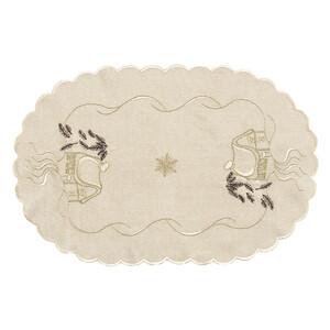 Vánoční ubrus chaloupky béžová, 30 x 45 cm