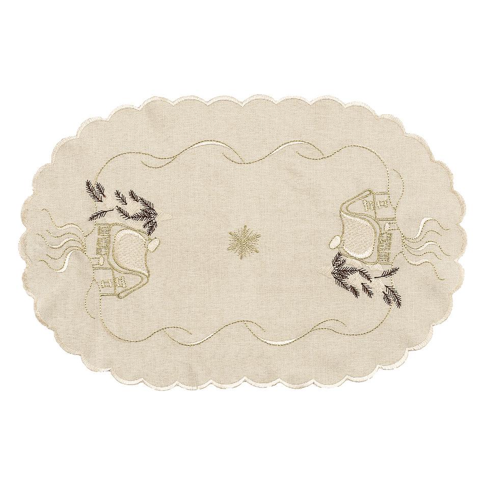 Forbyt Vianočný obrus chalúpky béžová, 30 x 45 cm
