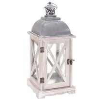 Drevený lampáš Trappeto biela, 16 x 41 cm