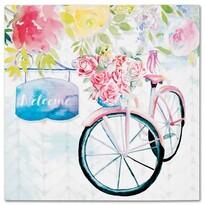 Pictură pe pânză Bicycle with roses, 28 x 28 cm